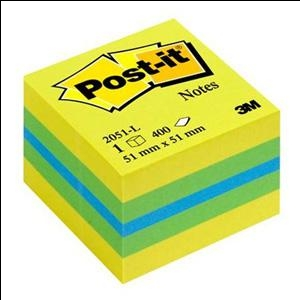 Līmlapiņu kubs 3M Post-it MINI 51x51mm/400l. dzelt/zaļa kr.